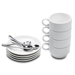 Aozita Espresso Cups and Saucers with Espresso Spoons, Stack
