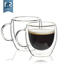 Sweese 4601 Espresso Cups - Double Wall Insulated Coffee Gla