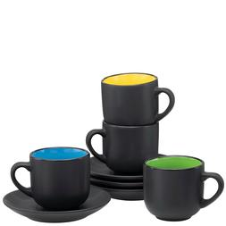 Espresso Cups with Saucers by Bruntmor - 4 ounce - Matte Bla