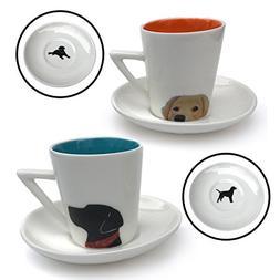 Espresso Cups Set of 2 - Black Lab and Golden Retriever 3 oz