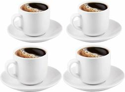 Espresso Cups with Saucers by Bruntmor - 4 ounce - White Cer