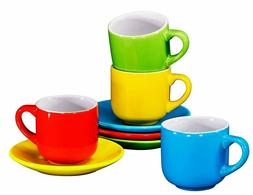 Espresso Cups with Saucers - 4 ounce - Multi-Color, By Brunt