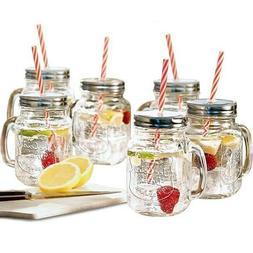 Estilo Mason Jar Mugs with Handle and Straws Old Fashioned D
