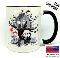 Evil Kids, It, Freddy, Birthday, Halloween Gift, Black Mug 1