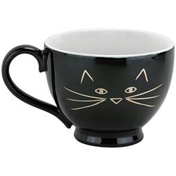 10 Strawberry Street Expressions Cat Face Footed Latte Mugs,