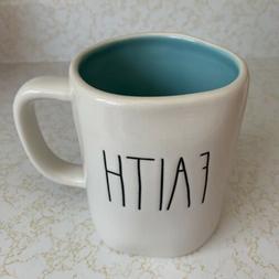 Rae Dunn FAITH LL Mug with Blue Interior COFFEE CUP NEW