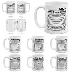 Family Gifts Nutritional Facts Funny Gifts for Coffee Milk M