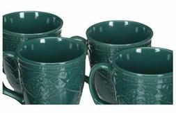 The Pioneer Woman Farmhouse Lace Mug Set 4-Pack Ocean Teal 1