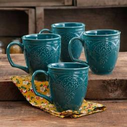 The Pioneer Woman Farmhouse Lace Mug Set 4-Pack OCEAN TEAL