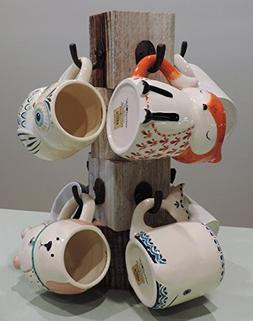 Farmhouse coffee mug tree, Wooden cup holder, Kitchen displa