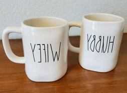 Rae Dunn Farmhouse Style  HUBBY and WIFEY Large Letter Mugs