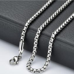 Fashion Unisex 316L Stainless Steel Round Box Chain Necklace