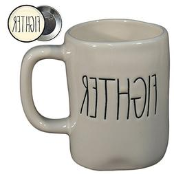 Rae Dunn FIGHTER Mug Coffee Cup Gift Set with Coordinating P