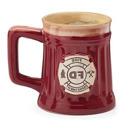 Fireman 15 Oz Porcelain Coffee Mug/Cup Burgundy Stein Shape