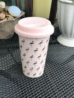 Flamingo Porcelain Coffee/Tea Travel Mug with Lid
