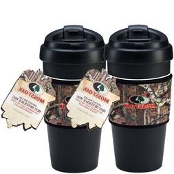 Mossy Oak Flip Top Coffee Mugs Set  16 oz Double Wall Offici