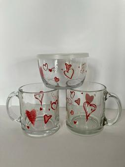 Libbey Floating Hearts 2 Glass Coffee Mugs & 1 Bowl w/Lid Va