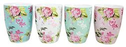 Multi Colored Floral Blossoms Glazed Ceramic 8 Fluid Ounces
