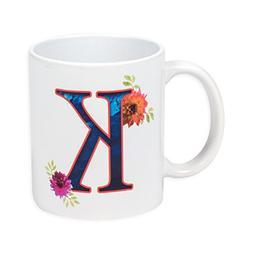 Floral Monogram Letter K, 11 Ounce Ceramic Coffee Mug