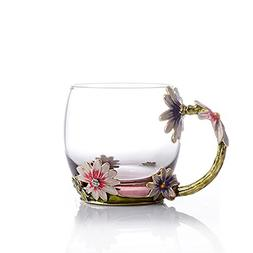 COAWG Flower Glass Tea Mug, 11oz Lead Free Handmade Pink Gla