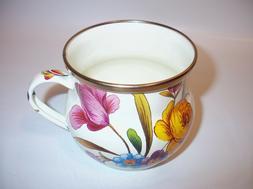 """MacKenzie-Childs Flower Market Enamel Mug - White 3.5"""" tall"""