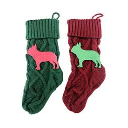 French Bulldog Pet Red and Green KNIT Stocking Dog Animal Ho