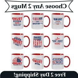 2 Pack -Fun Donald Trump Red Handle Ceramic Coffee Mug MAGA