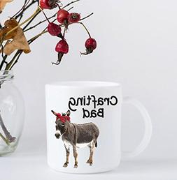 Funny Coffee Mug - Crafting Bad Ass - Donkey with Red Bandan