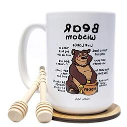 Funny Mug with Honey Dippers and Coaster Bundle - Bear Wisdo