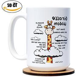 Orphic Nature Funny Mug and Coaster Set - Giraffe Wisdom - L
