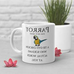 Funny Parrot Coffee Mug, Pet Bird Lover, Cute Macaw, Gift Fo