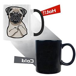 InterestPrint 11 Ounce Funny Pug Puppy Face Color Changing C