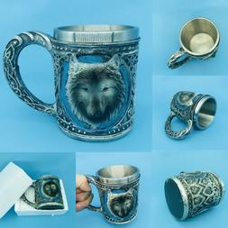 Funny Unique Wolf Pattern 3D Mug Resin +Stainless Steel Wate