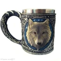 Game Of Thrones Theme 3D Wolf Resin Stainless Cup John Snow