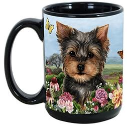 Garden Party 15 Oz Black Coffee Cup Mug, Dog & Cat Pet Gift