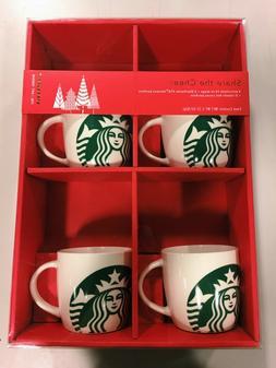 Starbucks Gift Pack - 4 White Porcelain 14oz  Mugs ONLY