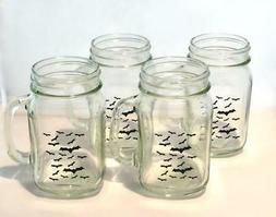 Libbey Glass 4 Decorated Halloween Bats 16oz Mason Jar Mugs