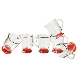 Anchor Hocking Glass Cafe Mug with Red Foot, Set of 6