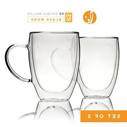 Kitchables Coffee Mugs Drinking Glasses Set of 2 with Handle