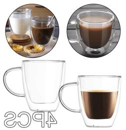 Glass Coffee Mugs Insulated 12oz Double Wall Tea Cup Clear T