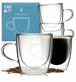 Glass Coffee or Tea Cups Drinking Glasses Set of 4-5oz Doubl