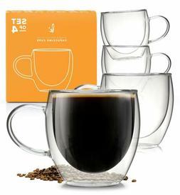 Glass Coffee or Tea Drinking Glasses Set of 4 Mugs - 8oz Dou