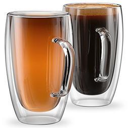 Glass Coffee or Tea Mugs 15oz or 450ml Double walled Set of