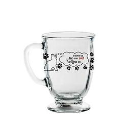 Libbey Glass Decorated Cat 16oz Footed Kona Coffee Mug