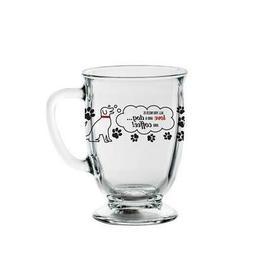 Libbey Glass Decorated Dog 16oz Footed Kona Coffee Mug