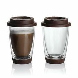 Sweese Glass Travel Coffee Mug 2 set Double Wall Thermo Insu