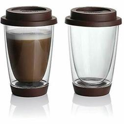 glass travel coffee mug set 2 double