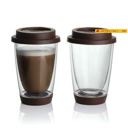 Sweese Glass Travel Coffee Mug Set of 2 - Double Wall Thermo