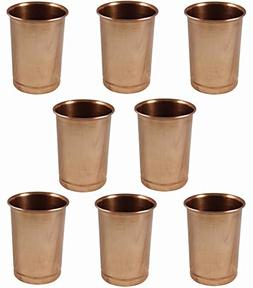 SKAVIJ Pure Copper Water Glasses Set of 8 Handmade Luxury Dr