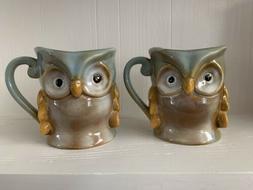 Gibson Home Glazed 3D Owl Coffee Mug Cup Tea Set Of 2 New Wi